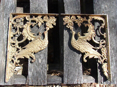 Exquisite Ornate Antique Corbels/shelf Brackets Heavy Cast Iron 19Th C Birds