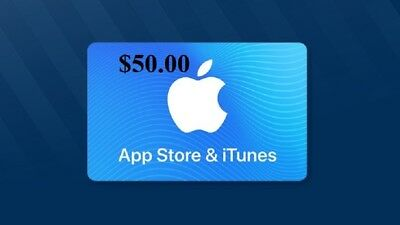 $50 App Store &  iTUNES  Gift Card.... Never Expires! ,,, FREE SHIPPING!
