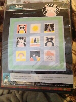 Baby Quilt Blocks.Stamped Cross Stitch Kit By Artiste Nature Baby Quilt Blocks