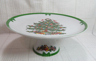 Georges Briard YULE TIDE Footed Cake Plate Christmas Tree Green Trim VGC