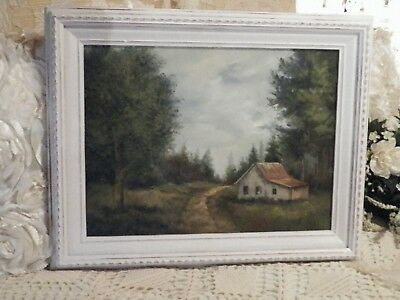 SHABBY COTTAGE CHIC Oil on Canvas Tin Roof Barn Farm House Beautiful Scenery