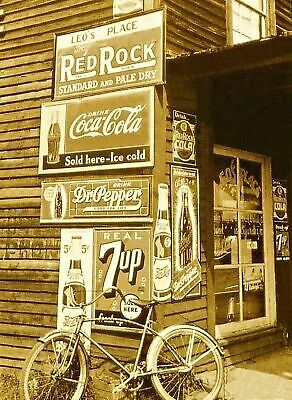 1938 Vintage Country Store PHOTO Coke Dr Pepper Soda Pop Ad Sign, Bicycle