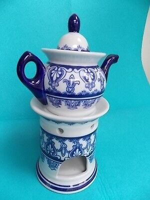 Bombay Co-Pitcher-Tea Pot -Porcelain Warmer-Blue & White- Floral Design