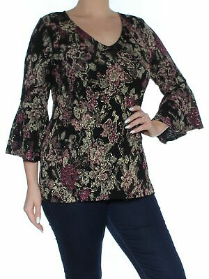 82f47420655aad MSK  69 Womens New 1339 Purple Floral Bell Sleeve V Neck Tunic Casual Top L  B