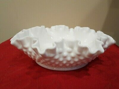 "Fenton? White Milk Glass Hobnail Ruffled Edge 7"" Serving Candy Bowl Dish"