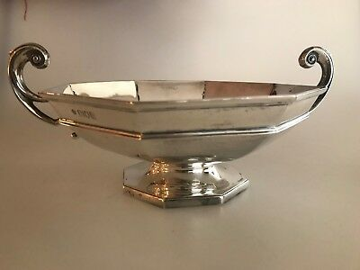 Antique Sterling Silver William Hutton & Sons 1925 Footed Handle Octagonal Bowl