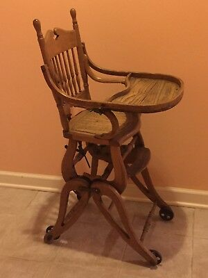 Antique Oak Child Wicker Seat High Chair - Converts to rocker & stroller ca1900