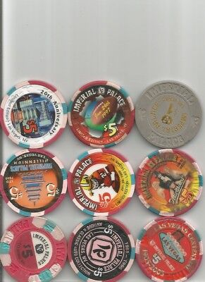 (9) $5 imperial palace hotel obsolete casino chips las vegas nv lot