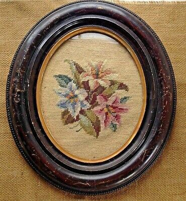 Vintage Wool Needlepoint Victorian Flowers Lily Framed