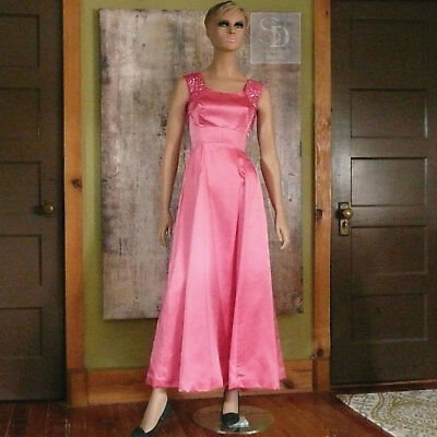 c3b428260755 Vintage 1970's Mike Benet Pink Satin with Sequin Dress Gown Formal Prom  Size 2