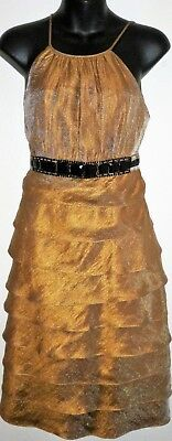 I.N. Studio Women's Sleeveless Metallic Shimmer Dress Tiered Size 6 Bronze Color