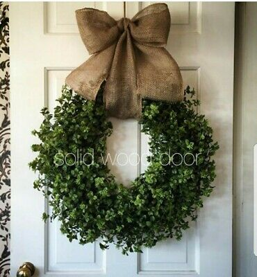 "Urban Farmhouse 14"" Boxwood Wreath French/Country Cottage/ Rustic Decor"