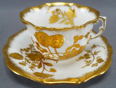 Hammersley 11657 Raised Gold Floral Bone China Tea Cup & Saucer C. 1939 - 1940s