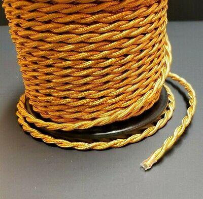 25 ft. GOLD RAYON TWISTED LAMP CORD ANTIQUE VINTAGE STYLE 46635JB