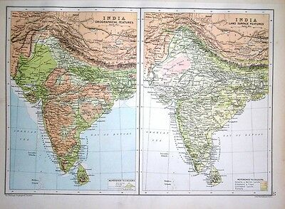 1891 Map ~ India ~ Orographical And Land Surface Features