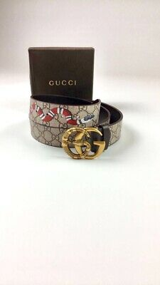 """8d884236c53 New Gucci Belt Size 38"""" Beige Snake Gold Double GG Snake Buckle With Box"""