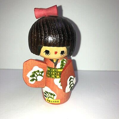 JAPANESE KOKESHI Style Wooden Doll Figurine Wood Girl Signed Red Floral Simple