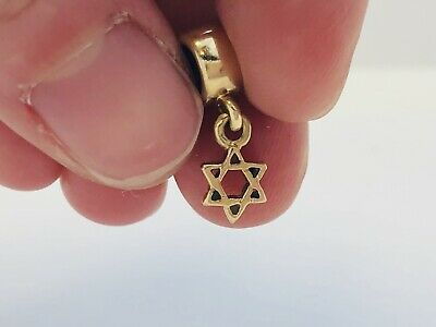 Authentic Pandora 14K Yellow Gold Star Of David Retired Dangle Charm 750272