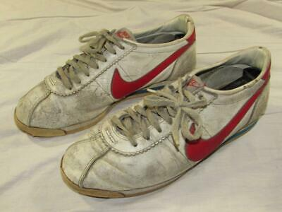 60d7217b281 Vtg 80s 1984 Nike Cortez White   Red Running Shoes Sz 9.5 Forrest Gump  Leather
