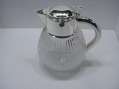 """RARE 24% Lead Crystal Coffee Water Pitcher with silver plate handle 9.5"""" tall"""