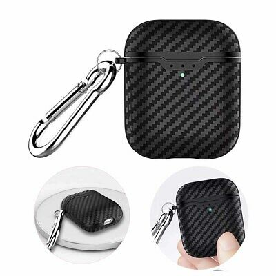 For Apple Airpods Carbon Fiber Pattern TPU Earphone Rugged Shockproof Case Skin