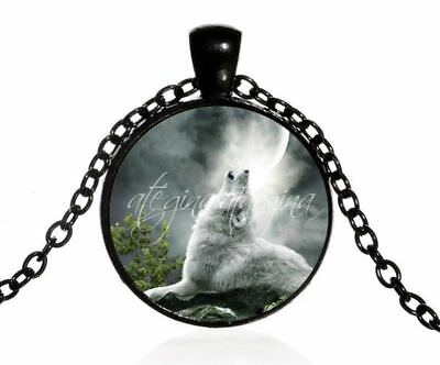 Howling Gray White Wolf Glass Dome Pendant Black Colour Necklace