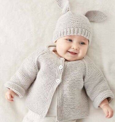 Easter Set Modern Baby Knitting Pattern Jacket With Beanie Bunny Ears 0-12Months