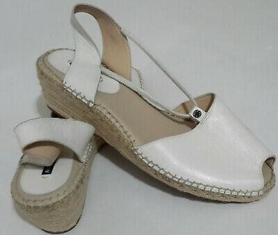 9bf1cc749b ALEX MARIE WHITE LEATHER ESPADRILLE WEDGE SANDALS - SIZE 11 (Pre-owned)