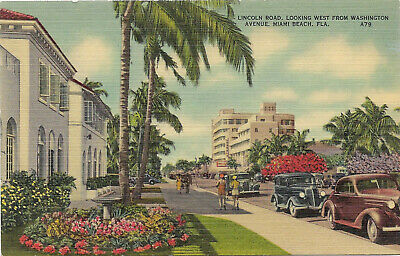 Linen Postcard Lincoln Rd Looking West From Washington