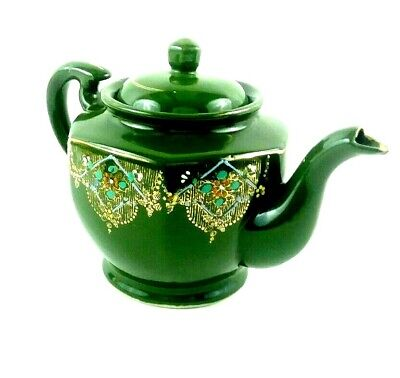 Vintage Green Lustre Red Ware Style Teapot Hand Painted Enamel Gold Gilt Japan