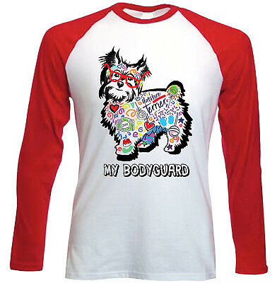 Yorkshire terrier 2 - my bodyguard c - NEW RED LONG SLEEVES COTTON TSHIRT