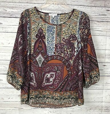 Moa Moa Women's Paisly Print 3/4 Sleeve 100% Polyester Blouse / Top Size Small