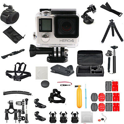 GoPro HERO4 Action Camera +50 Piece Hero 4 Accessory Kit Camera Camcorder-Silver