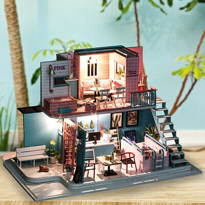Handmade 3D Wooden Miniature Doll House Pink Cafe, DIY Miniature Toys Furniture