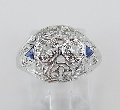 Antique Art Deco Diamond and Sapphire Ring 18K White Gold and Platinum Size 5.25