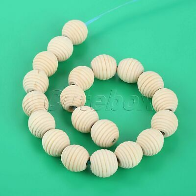 20x Natural Wood Unfinished Beehive Round Beads 20mm Baby Teething Necklace DIY