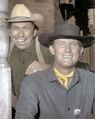 """SLIM PICKENS & DON COLLIER HOLLYWOOD ACTORS 8x10"""" HAND COLOR TINTED PHOTOGRAPH"""