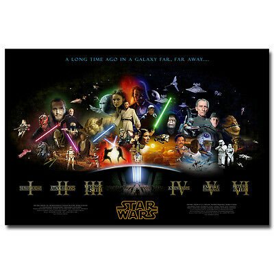 Star Wars Episode IV 1 to 6 Classic Movie Art Silk Poster 12x18 24x36inch