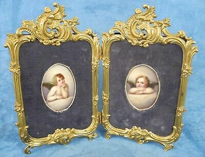 Antique Pair Hand Painted Porcelain Plaque Angel W/ Bronze Frame Royal M MFG CO