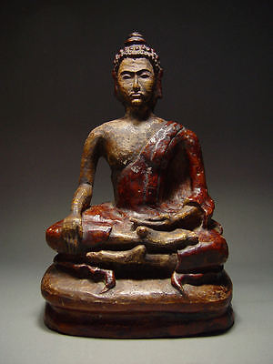 ANTIQUE RARE GLAZED EARTHENWARE MEDITATING  BUDDHA, CHIANG RAI PROVINCE 17/18thC