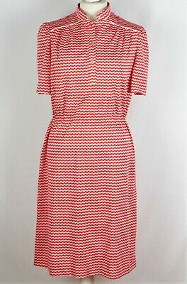 Vintage 1970's DRESS Red/White UK 14/EU 42 150 P