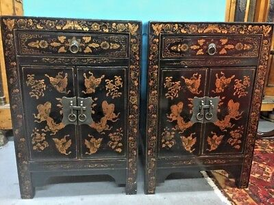 Fine Antique Pair of Chinese Lacquered Cabinets Flora and Fauna Motifs