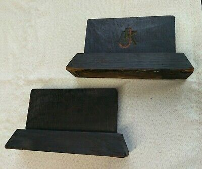 Black Wood Book Ends antique,leather bottom