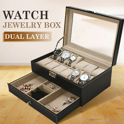 Watch Jewelry Display Case Storage Holder Box Gift 12 Grids Organizer PU Leather