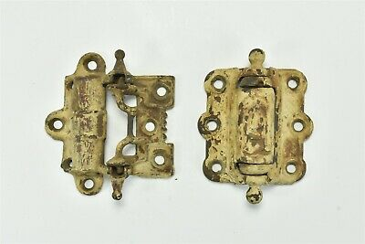 Antique LOT of 2 CAST IRON SCREEN DOOR HINGES HARDWARE BALL + STEEPLE OLD #06894