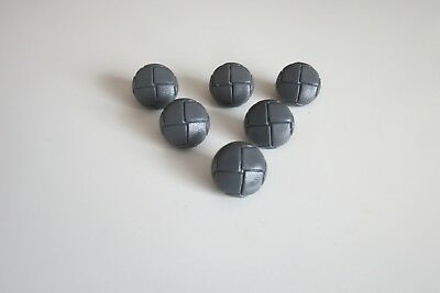 Grey Leather Look Football Shank buttons15mm size 24 in  packs of 5 or 10