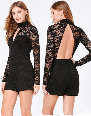 NWT bebe black floral lace long sleeve mock neck cutout top dress romper L large