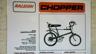 Raleigh Chopper Sprint Gt Specification And Part List Laminated Bargain 5 95 Picclick Uk