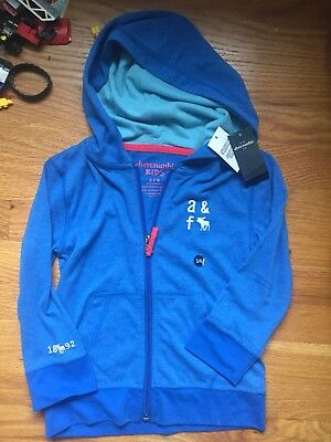 Abercrombie Kids Boys Zip Up Hoodie Size 3/4 NEW With Tags