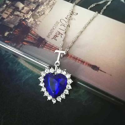 Heart-shaped Blue Crystal Rhinestone Necklace Silver-Plated Necklace ww Chain E